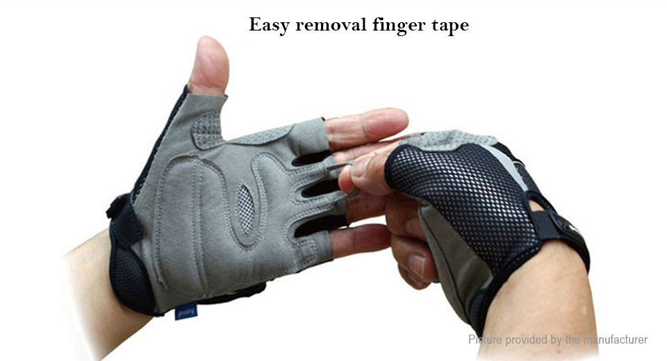 GOOD HAND Bicycle Safety Rear View Mirror Half Finger Cycling Gloves (Size M)