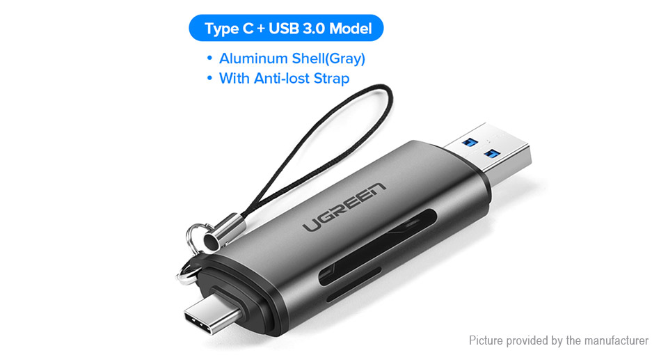 Authentic UGREEN CM185 USB-C + USB 3.0 MicroSD/SD OTG Card Reader