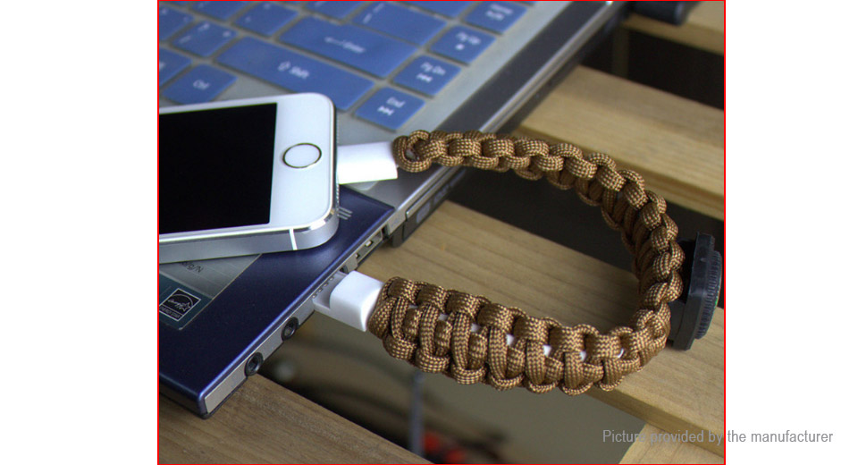 Outdoor Survival Paracord Bracelet 8-pin to USB 2.0 Data & Charging Cable (24cm)