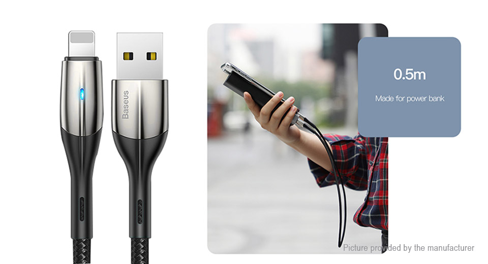 Authentic Baseus 8-pin to USB 2.0 Nylon Braided Data & Charging Cable (50cm)