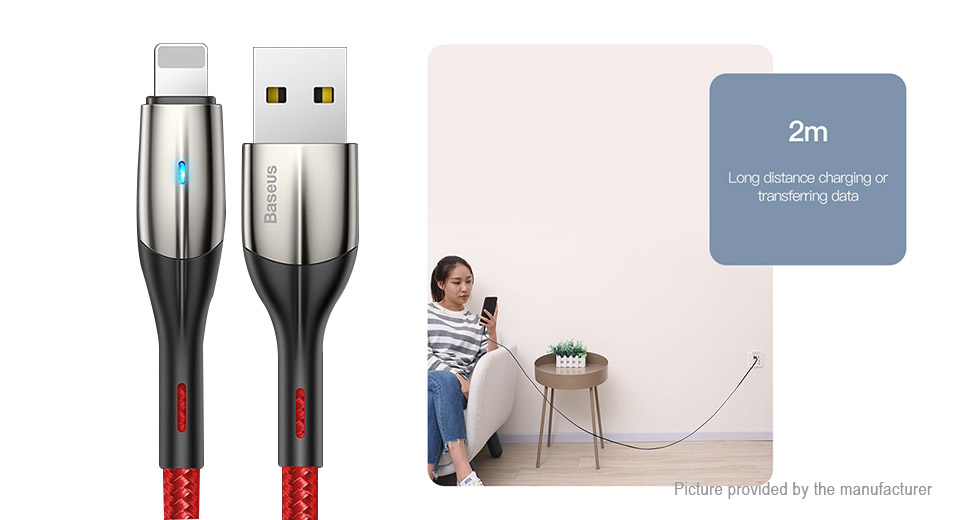 Authentic Baseus 8-pin to USB 2.0 Nylon Braided Data & Charging Cable (200cm)