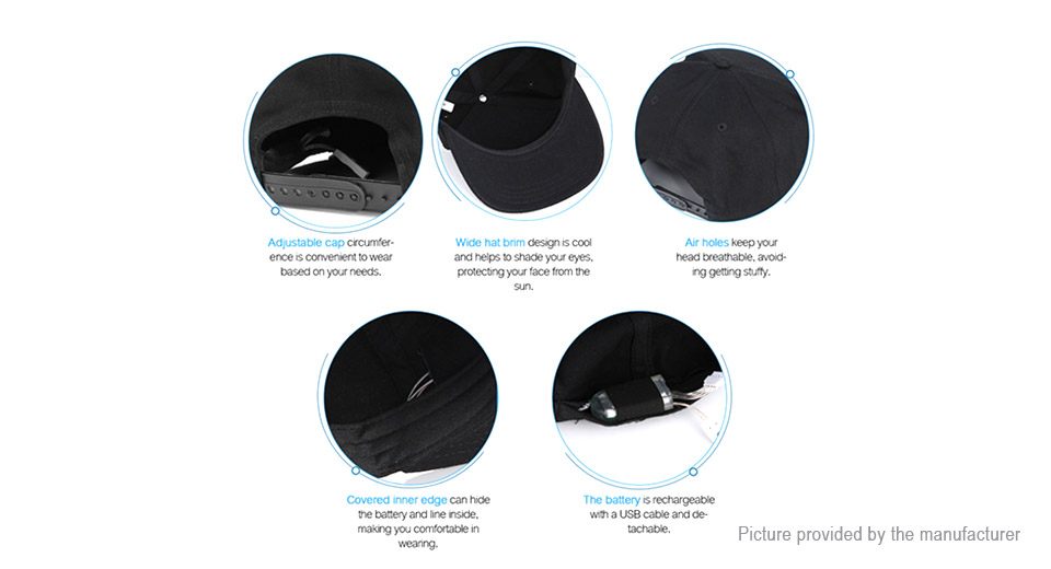 Bluetooth V4.0 LED Display Baseball Cap Sun Hat