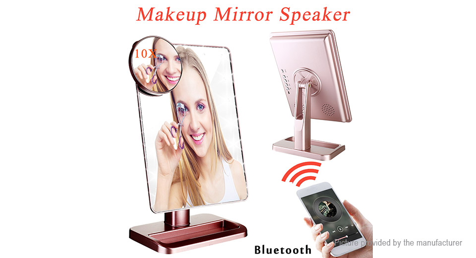 Portable Bluetooth Speaker + 10X Magnifying LED Light Makeup Mirror
