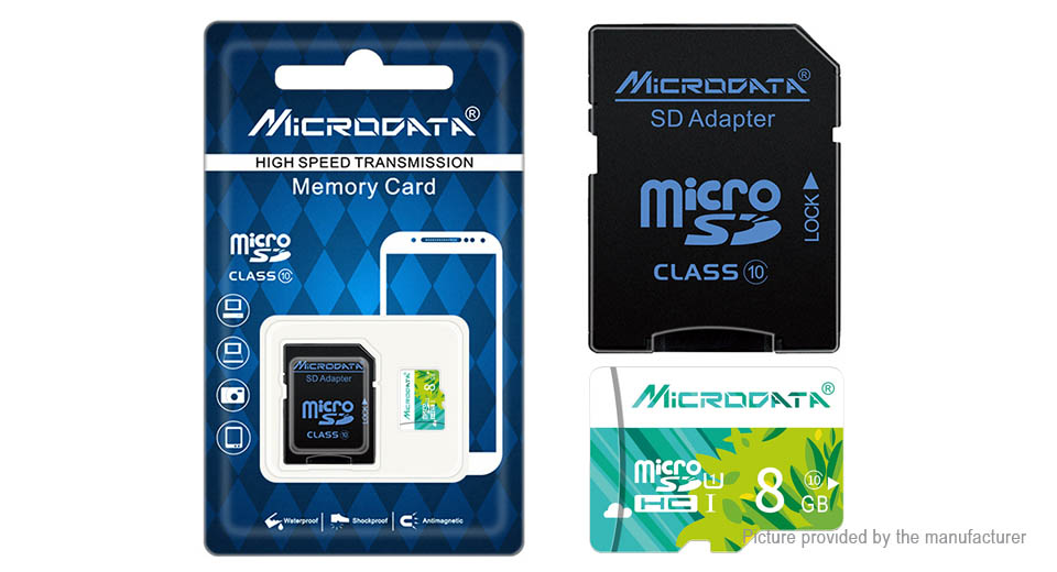 Authentic MICRODATA Class 10 microSD Memory Card (8GB)