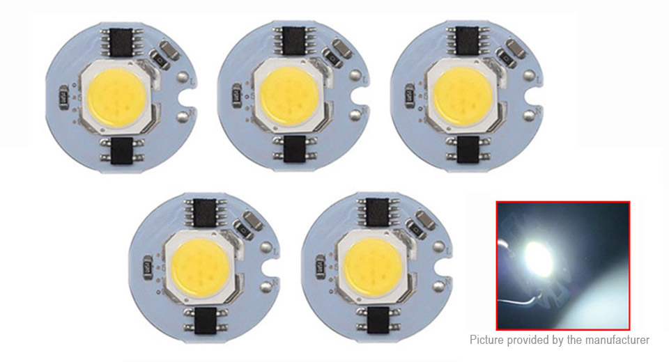 Product Image: 3w-27mm-pure-white-diy-cob-led-chip-emitter-5-pack