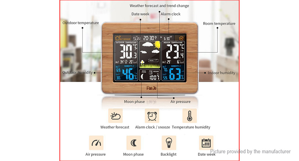 FanJu FJ3365 Indoor Outdoor Wireless Weather Station Thermometer Hygrometer