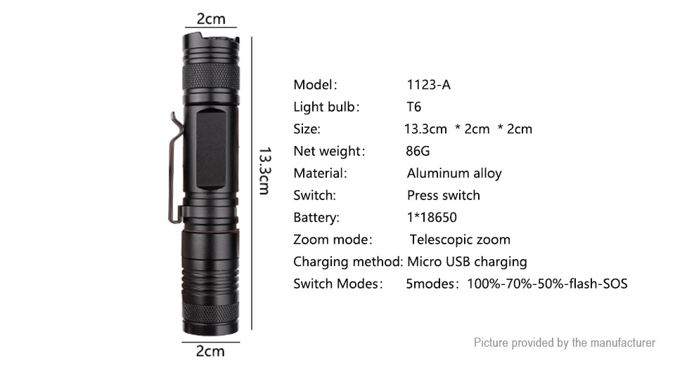 Yunmai 1123B LED Flashlight w/ Focus Zoom