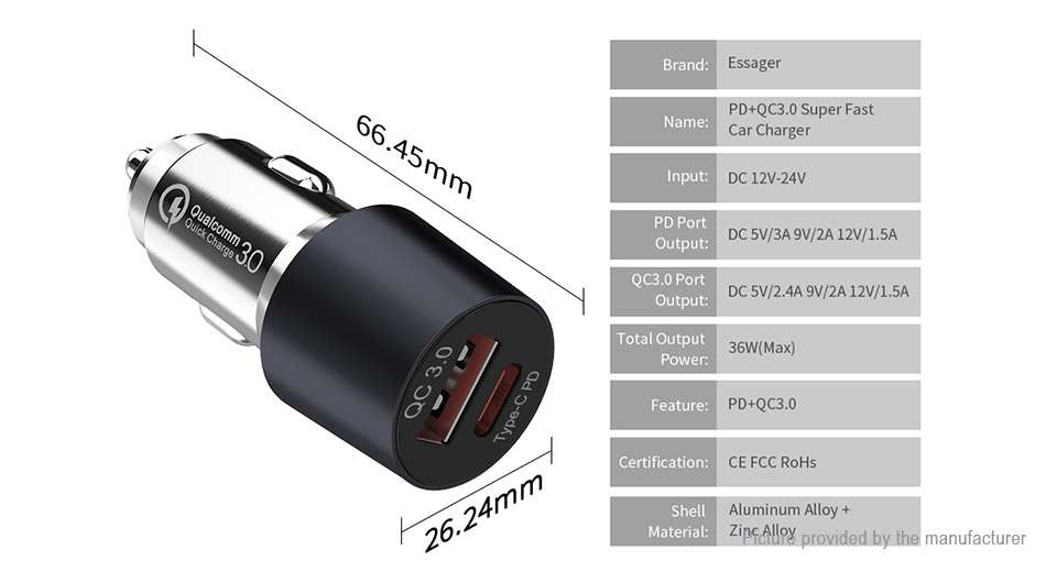 Essager E-305 Dual USB Car Cigarette Lighter Charger Power Adapter