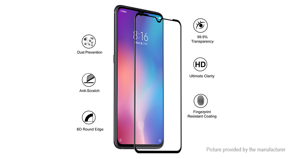Hat.Prince 6D Curved Tempered Glass Screen Protector for Xiaomi Mi 9