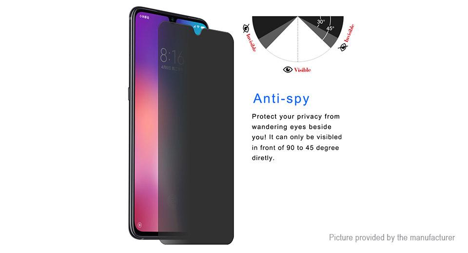 Hat.Prince 2.5D Tempered Glass Privacy Screen Protector for Xiaomi Mi 9 Explorer