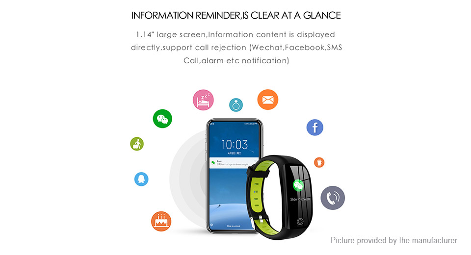 "F21 1.14"" IPS Touch Screen Bluetooth V4.0 Smart Bracelet Wristband"