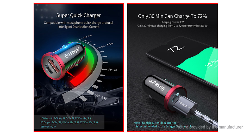 Essager USB-C PD Quick Charge Car Charger Power Adapter