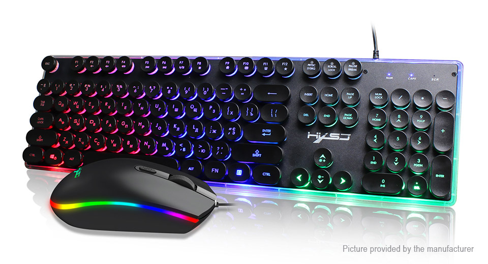 $25 98 HXSJ V300 USB Wired Russian RGB Gaming Keyboard & Mouse Combo Set -  104 keys / 1600DPI at FastTech - Worldwide Free Shipping