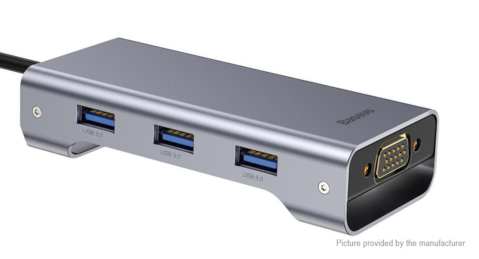Authentic Baseus 8-in-1 USB-C to VGA/HDMI/USB-C/3*USB 3.0 Hub Card Reader