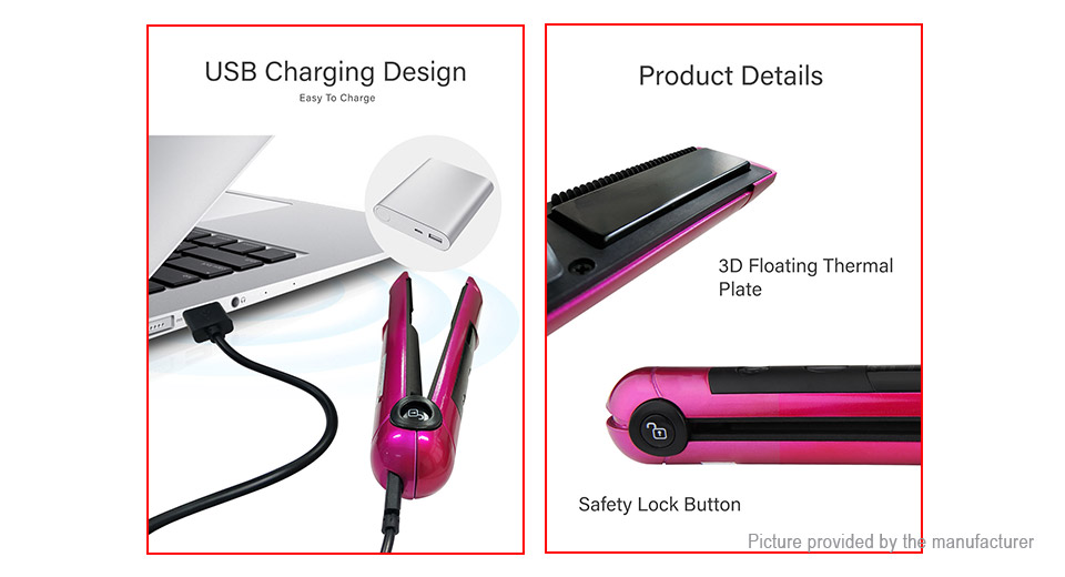 Mini Cordless Digital Electric Hair Straightener Curler