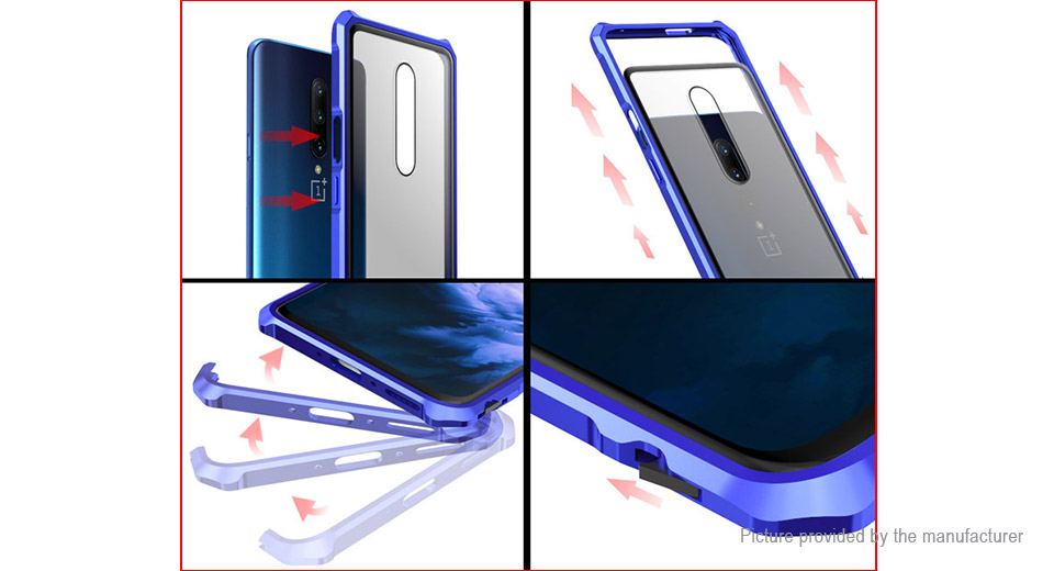 Metal + Tempered Glass Protective Case Cover for OnePlus 7 Pro