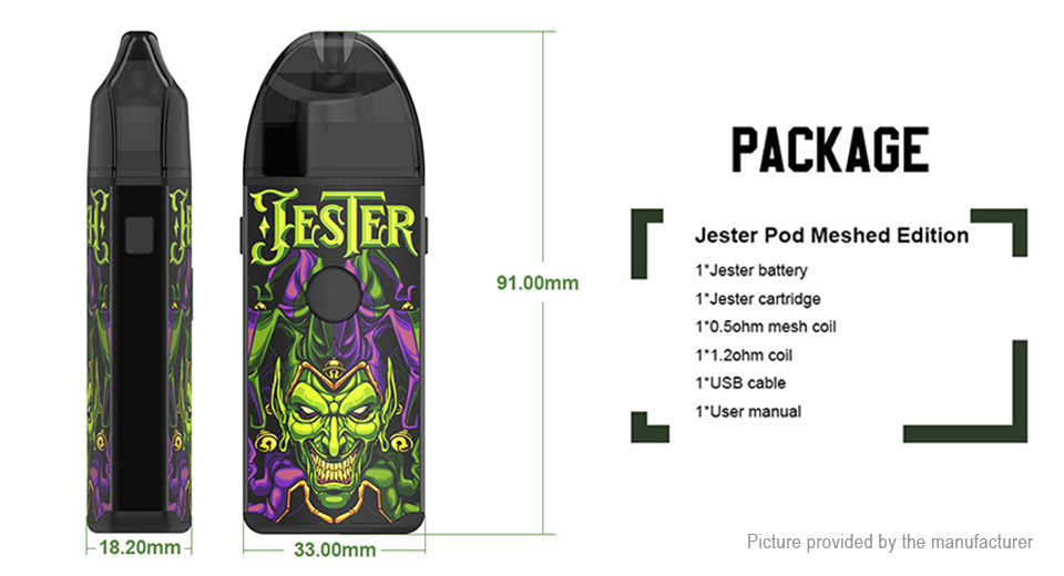 Authentic Vapefly Jester 1000mAh VV Pod System Starter Kit (Meshed Edition)