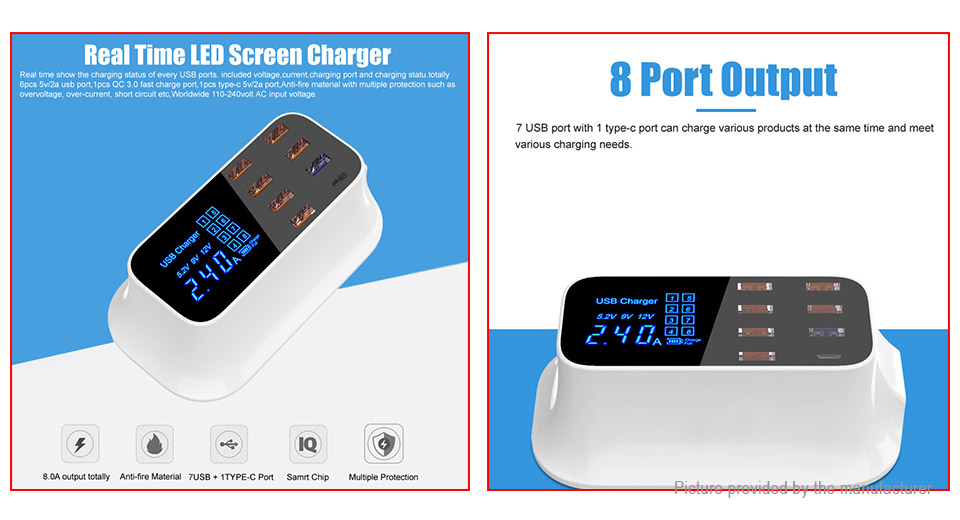 Wenhao YC-CDA19Q LCD Display 8-Port USB Charger Fast Charging Station (US)