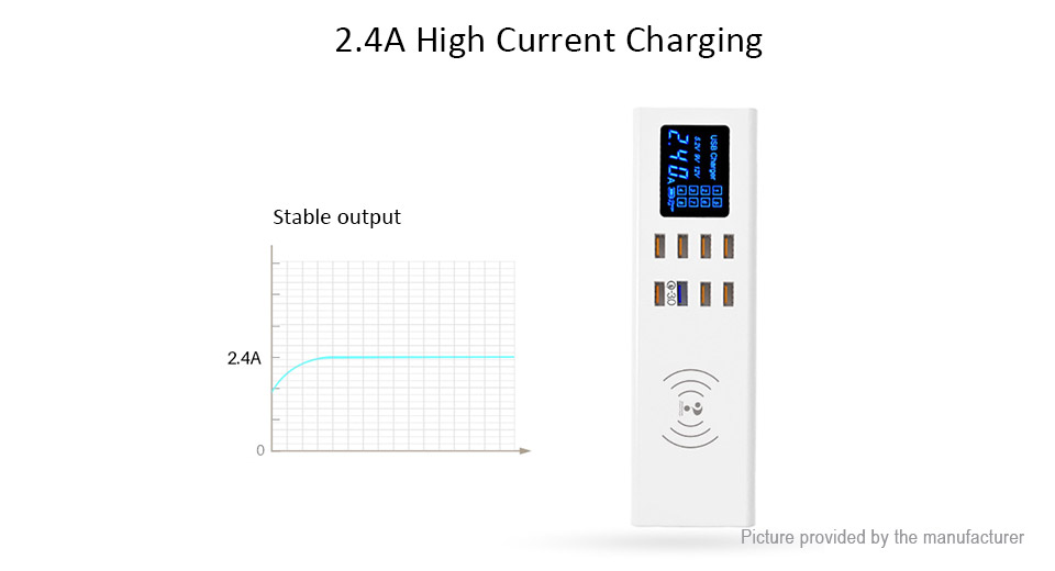 Wenhao YC-CDA23 2-in-1 LCD Display 8-Port USB Charging Dock Wireless Charger (EU)