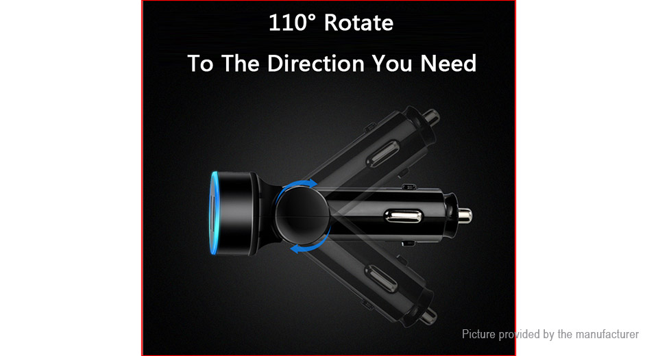 Rotatable Dual USB Charger Car Cigarette Lighter Power Adapter