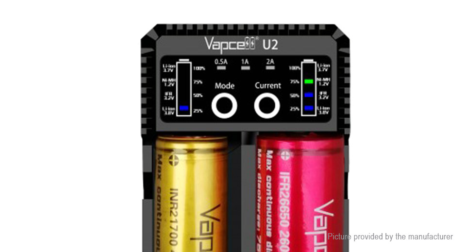 Vapcell U2 2-Slot Smart Battery Charger