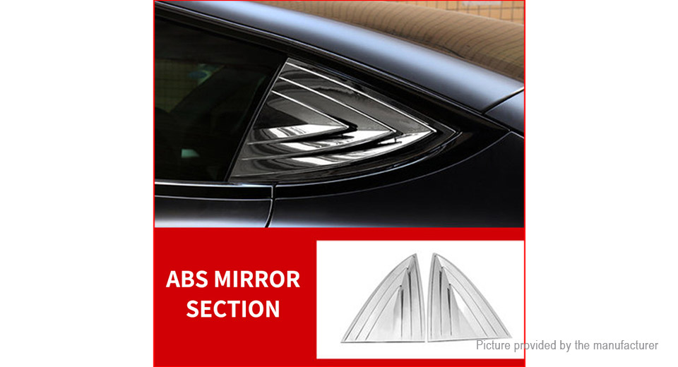 Car Rear Window Louver Shutter Cover Trim for Tesla Model 3 (2-Pack)
