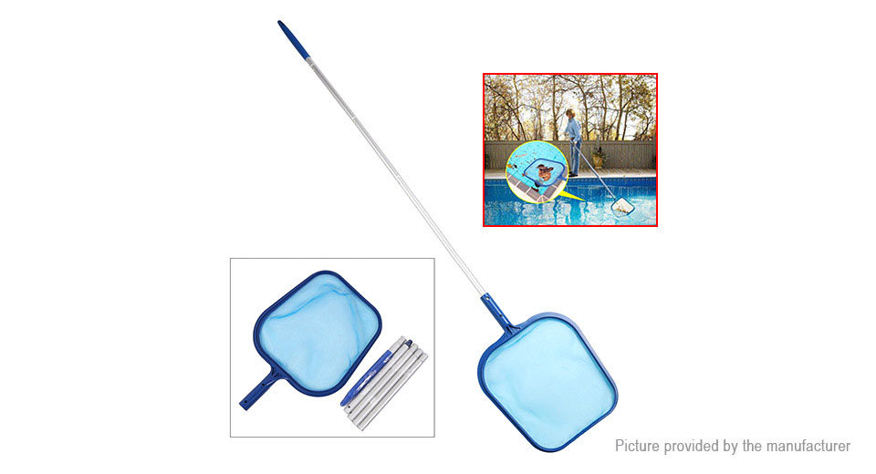 $9 26 Swimming Pool Cleaner Debris Leaf Skimmer Mesh Net w/ Telescopic Pole  - 5-section pole at FastTech - Worldwide Free Shipping