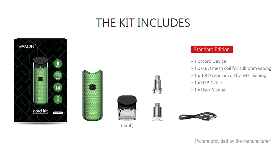Authentic Smoktech SMOK Nord 1100mAh 15W Pod System Starter Kit