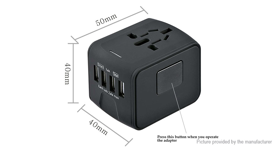 Universal 4-Port USB AC Travel Charger Power Adapter