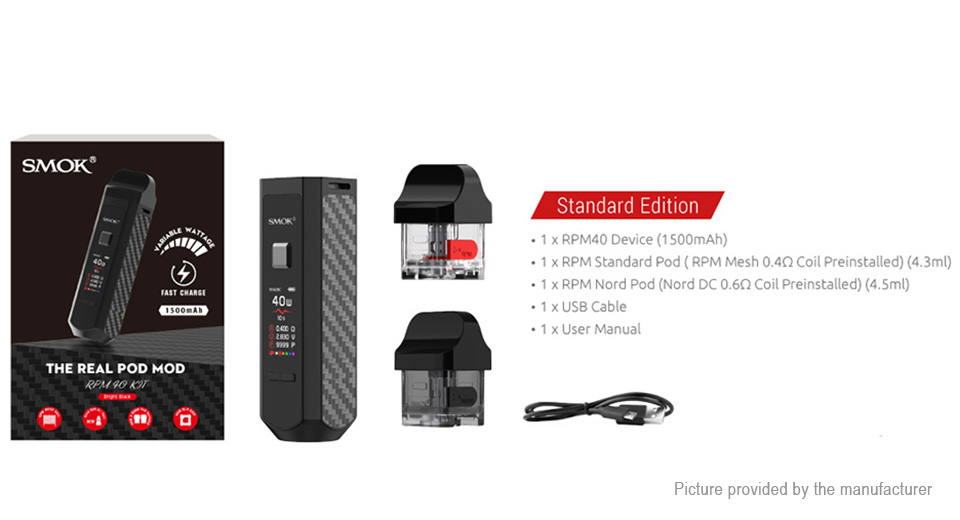 Authentic Smoktech SMOK RPM40 1500mAh 40W VW Pod System Starter Kit