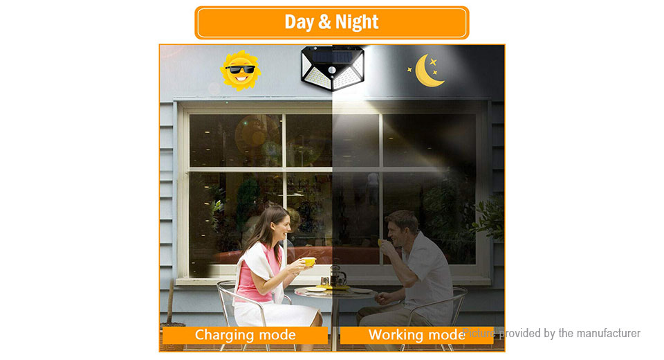 Solor Powered Motion Sensor Garden Patio Light Wall Mount LED Lamp