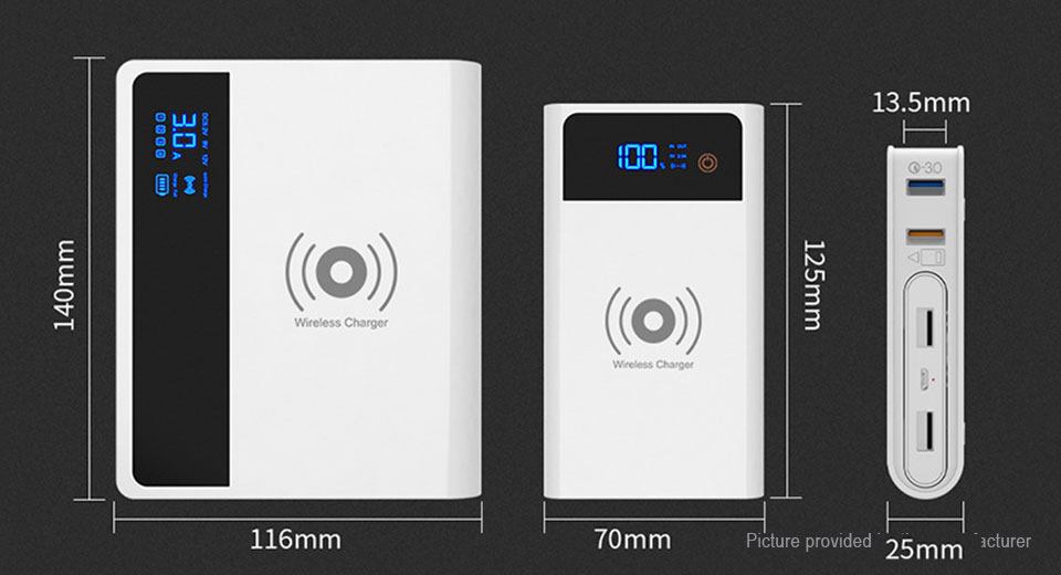 Portable 3-in-1 4-Port USB Charger + Qi Wireless Charger + Power Bank (5000mAh)