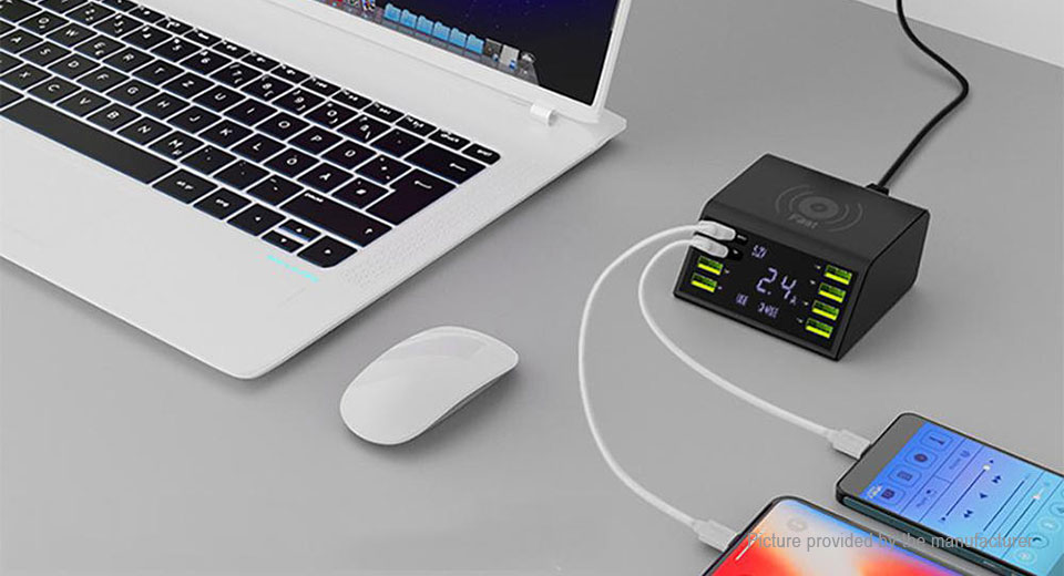 Multifunctional 8-Port USB Charger w/ Qi Wireless Charging Pad (AU)