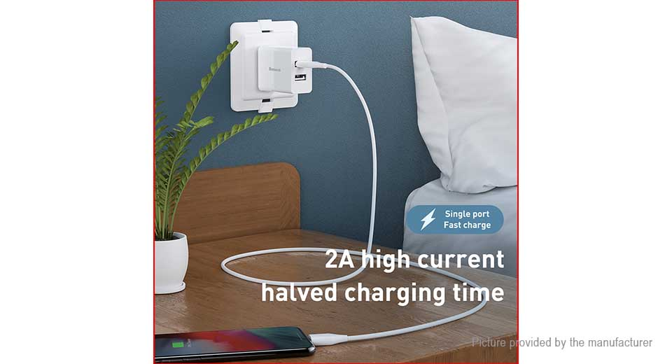 Authentic Baseus Dual USB Wall Charger Travel Power Adapter (US)