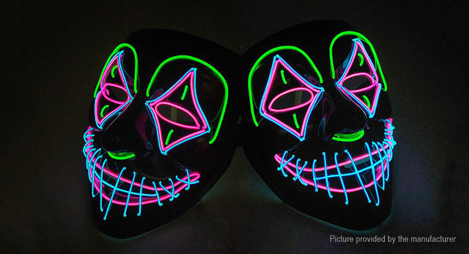 Clown Styled LED Growing Mask Halloween Masquerade Mask