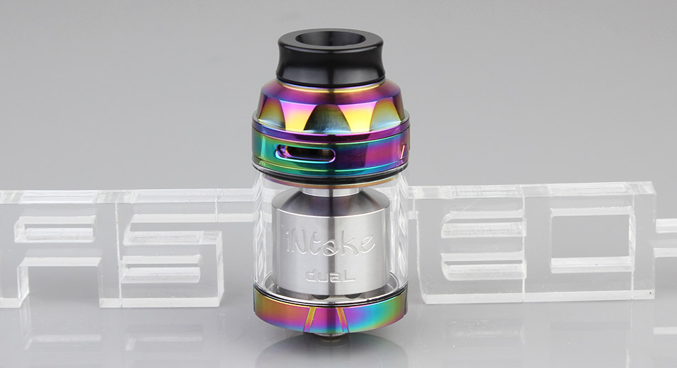 $12.99 Authentic Augvape Intake Dual RTA Rebuildable Tank Atomizer - 4.2ml / stainless steel + glass / 26mm diameter at FastTech - Free Shipping