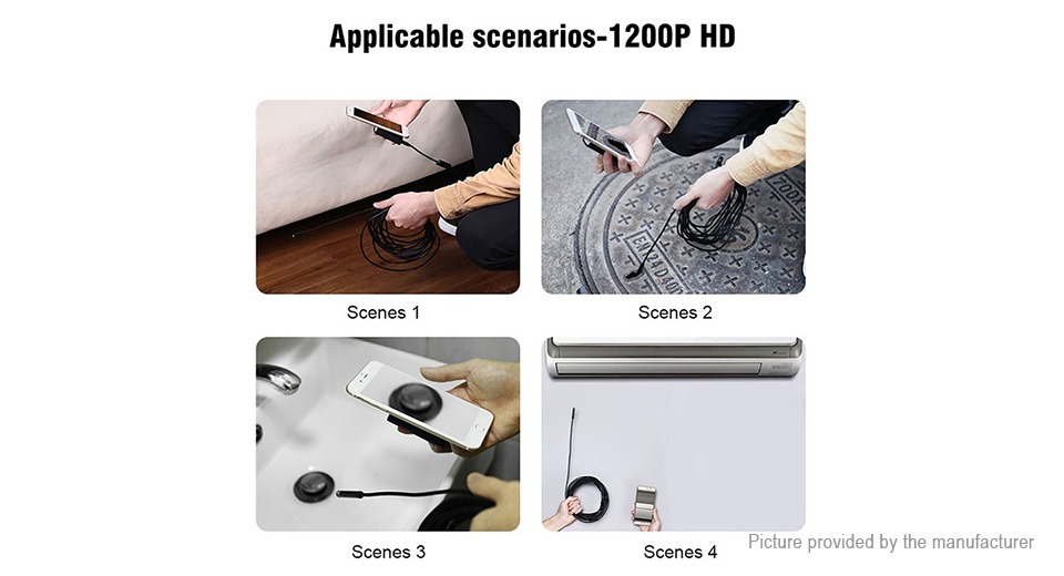 8mm 1200p HD Wifi Endoscope Borescope Inspection Camera (1m)