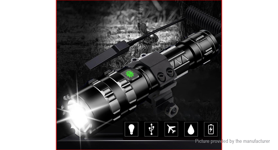 USB Outdoor Hunting Rifle Mount LED Flashlight w/ Focus Zoom