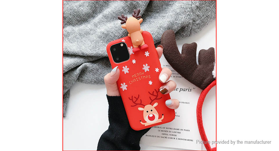 Christmas Cartoon Deer Styled Protective Couple Back Case Cover for iPhone 11