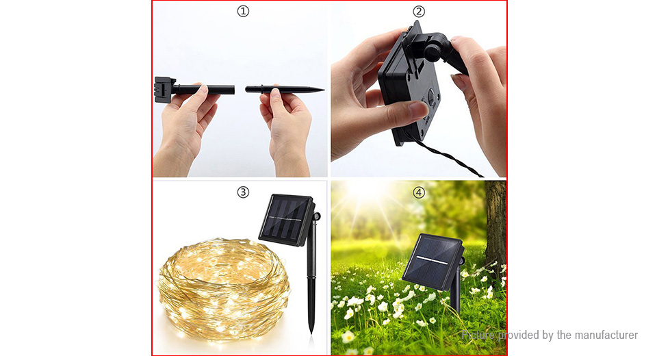 Solar Powered LED String Light Christmas Party Wedding Decoration (20m)