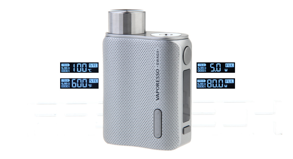 $29.99 Authentic Vaporesso SWAG II 80W VW APV Box Mod - 5-80W / 1*18650 at FastTech - Free Shipping
