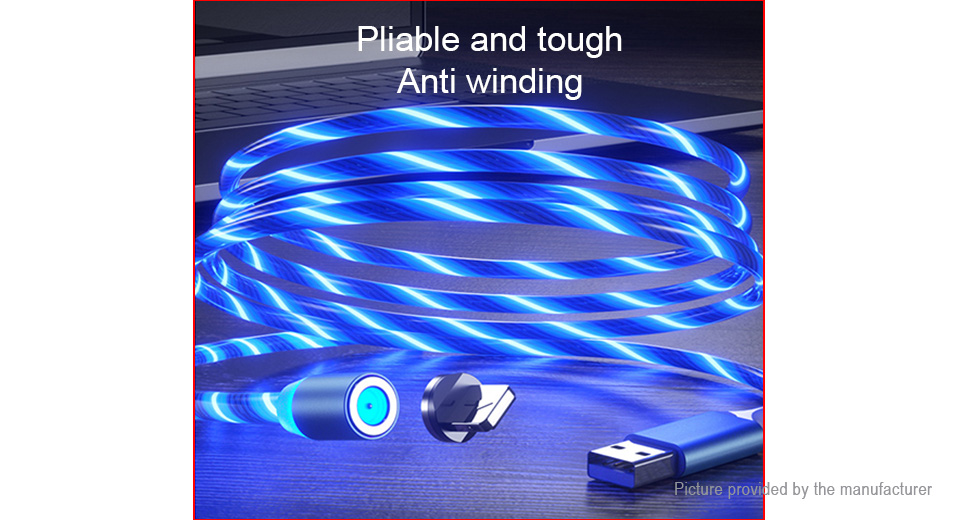 Micro-USB to USB 2.0 Magnetic Flowing LED Light Up Charging Cable (100cm)