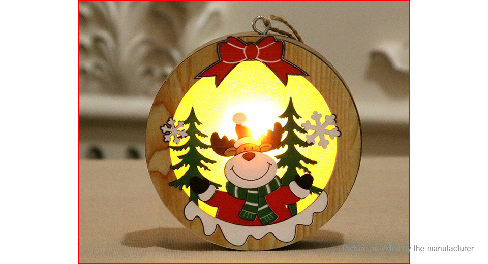 LED Light Luminous Wooden Ornament Christmas Tree Hanging Decoration