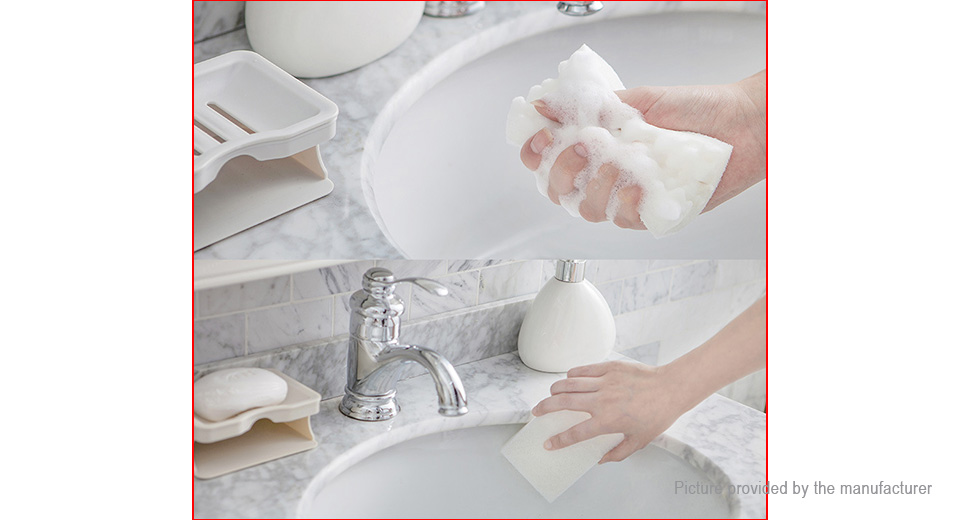 Double Layer Drain Bathroom Soap Holder Soap Dish w/ Cleaning Sponge