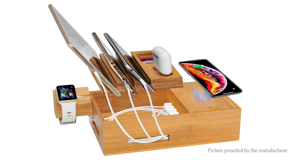 Product Image: wooden-5-port-usb-charging-dock-qi-wireless