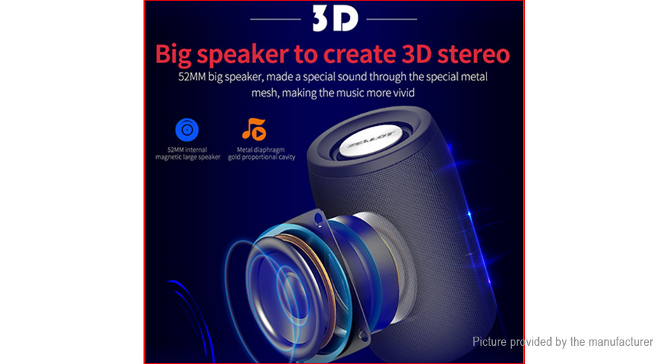 Authentic ZEALOT S32 Portable HiFi Heavy Bass Bluetooth V5.0 Stereo Speaker