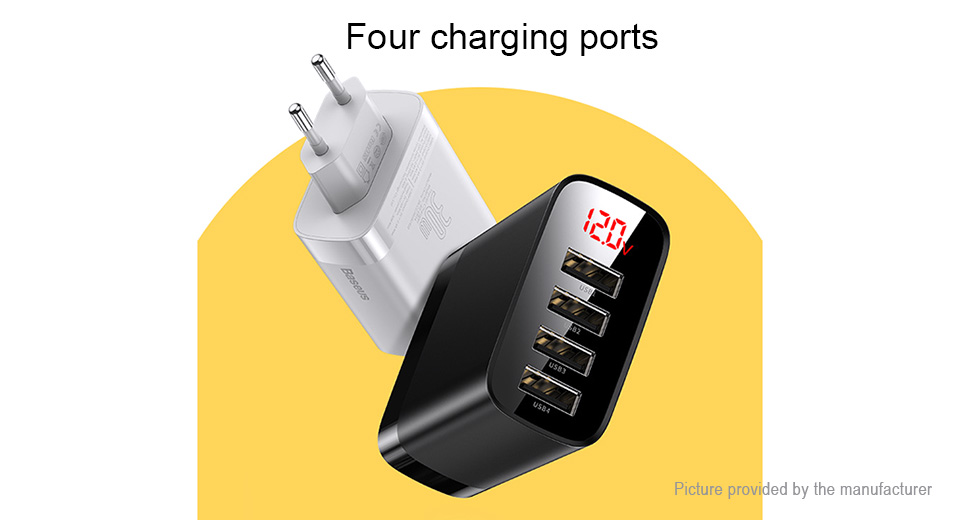 Authentic Baseus 4-port USB Travel Wall Charger Power Adapter (EU)