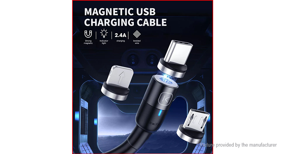 KUULAA Magnetic 3-in-1 8-pin/Micro-USB/USB-C to USB 2.0 Charging Cable (200cm)