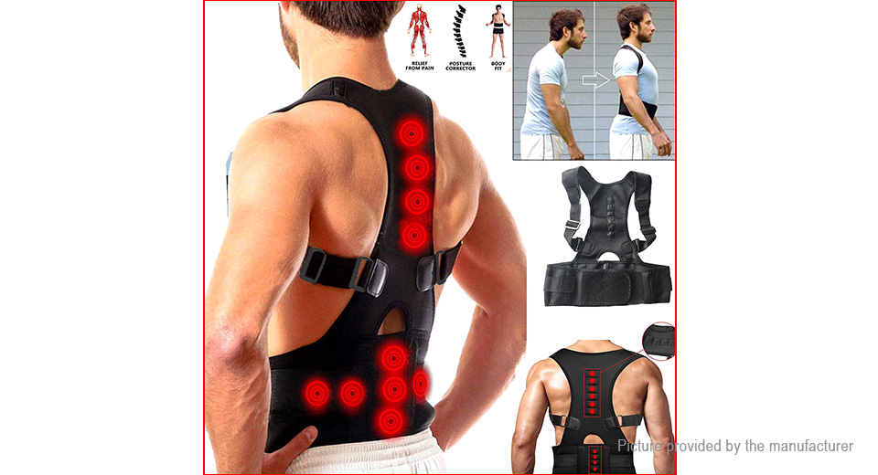 Unisex Back Lumbar Support Pain Relief Magnetic Posture Corrector Belt (Size 2XL)