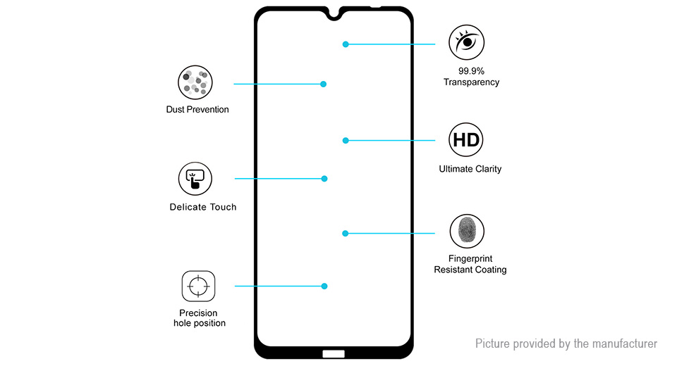Hat.Prince 2.5D Tempered Glass Screen Protector for Xiaomi Redmi Note 8T